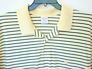 BROOKS BROTHERS 346 XL Yellow & Blk Short Sleeve Polo EPOC Bright Yellow OrigFit