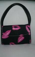Black Purse with Pink Lips Print