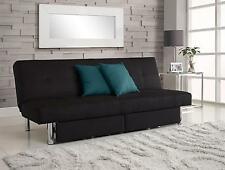 Convertible Upholstered Rich Black Sola Futon Sofa with Storage Compartments