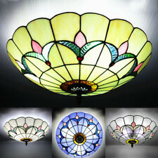 Retro Tiffany Flush Mount Stained Glass Handcrafted Ceiling Light Lamp Fixture
