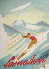 Vintage Ski Posters SAMADEN ENGADIN, Swiss, Art Deco A3 Travel Print