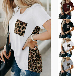 EDC Womens Long Sleeve Crewneck Tops Casual Cat Dog Footprint Print Leopard Raglan Sleeve Pullover Blouse Shirts T Shirts