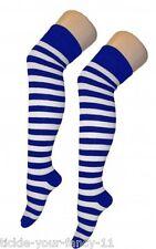 Onorevoli adolescenti BLUE & WHITE STRIPE marinaio a tema sopra il ginocchio Calze Calcio Kit