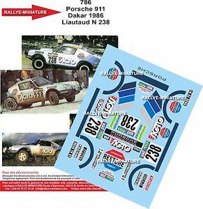 Decals 1/24 Ref 786 Porsche 911 Liautaud Rally Paris Dakar 1986 Rally