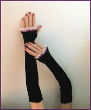 Goth Victorian LONG BLACK knit purple satin lace ARM WARMERS FINGERLESS GLOVES