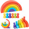 6 Colours Children Kids Wooden Stacking Educational Toys Rainbow Shaped Gift New