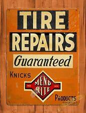 "TIN-UPS TIN SIGN ""Tire Repairs"" Garage Rustic Mechanic  Wall Decor"