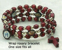 Wrap Rosary Bracelet With Cherry Colored Wood - Made in the U.S.