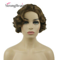 Brown Finger Waves Wig Costume Short Retro 1920s Gatsby Flapper Vintage Hair Wig