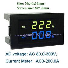 Digital AC 80V~300V 200A LCD Voltmeter Ammeter Combo Meter + Current Transformer