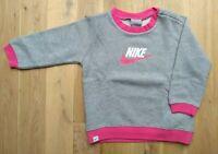NEW Nike Kids Toddler Girl's Cotton Blend Grey/Pink Sweatshirt, Age 2-3, 92-98cm