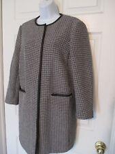 Ann Taylor Black & White Faux Leather Trimmed Coat / Jacket Size M