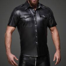Men's Uniform PVC Faux Leather Button Design Short Sleeve Slim Fit Top Club Wear