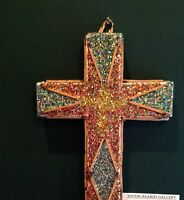 LW Crawford  FOLK ART  Cross Glitter outsider artist Juke Joint Tolliver   #2842