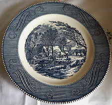 """""""Old Grist Mill"""" Royal China by Jeannette, Currier & Ives 10"""" Blue Dinner Plate"""