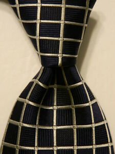 CANALI Men's 100% Silk XL Necktie ITALY Designer CHECKERED Blue/Gray GUC
