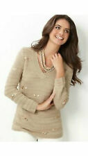 NWT $89 Charter Club Women's Beige Solid 3/4 Sleeve V-Neck Sweater Size: L