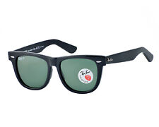 Ray-Ban Original Wayfarer Classics Black Frame Green Polarized Unisex Sunglasses