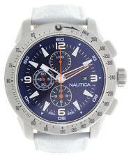 Nautica Mens N17593G Blue Dial White Leather Strap Chronograph Watch 47mm