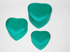 3 New Nesting Thai Silk Heart Shaped Jewelry Trinket Boxes Green Valentines Mint