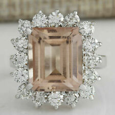 7.90Ct Emerald Cut Peach Morganite Cocktail Engagement Ring 14K White Gold Over