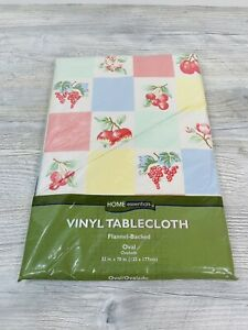 """Home Essentials Vinyl Flannel Backed oval Cherries Blossom 52' x 70"""" Vintage NEW"""