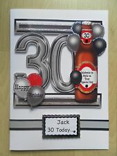 Luxury Hand-Made Male 30th Birthday Card -Can be Personalised
