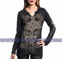 SINFUL Harlow S3913 Women`s New Slit Neck Fashion Graphic Thermal By Affliction