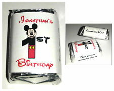 60 MICKEY MOUSE 1ST BIRTHDAY PARTY CANDY WRAPPERS LABELS FAVORS