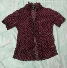 red black white blouse top shirt,George, circle designs, polyester, front button