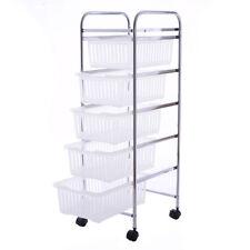 5 Tier Storage Trolley Rolling Cart Rack Basket Shelf Home Kitchen Bathroom