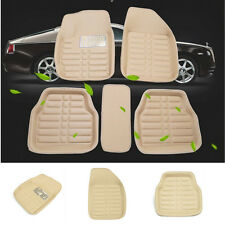 Beige Car Floor Mats Floor Liner Front&Rear Carpet All Leather Weather 5Pcs Mat