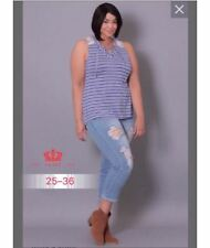 LADIES TATTERED JEANS TILL PLUS SIZE 35