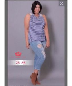 LADIES TATTERED JEANS TILL PLUS SIZE 30