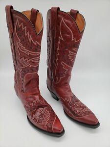 Womens Dan Post Burgundy Sidewinder Snip Toe Cowboy Boots Red Size 8.5 M DP3455