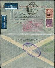96/Zeppelin Brasilien 1933 5. Südamerikafahrt Brief Joinville Sachsen Si 227 A