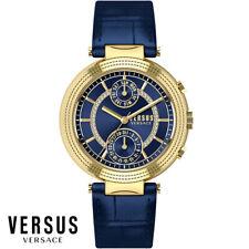 Versus by Versace S79040017 Star Ferry gold blau Leder Armband Uhr Damen NEU