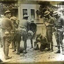 Vtg Magic Lantern Glass Slide Photo Military Army Men Setting Up Trip Wire