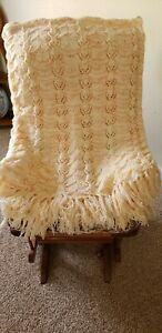 """Afghan Multi-Color KNIT Throw Blanket Vintage Hand Made Shell Pattern 74"""" x 60"""""""