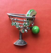 Martini Wine Glass Silver Tone Brooch Lapel Hat Pin Embellished Rhinestones