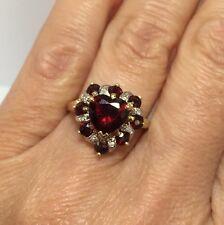 14k Yellow Gold 3 Carat Garnet Diamond HEART Wedding Estate Cocktail Ring 8 1/2