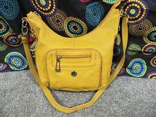 Stone Mountain Mustard Color Leather Shoulder Bag w/ Green & Black Design Liner