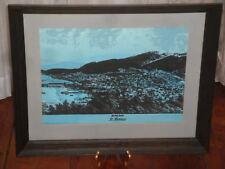 VINTAGE JIM TILLETT ST THOMAS PRINT CANVAS FRAMED VIRGIN ISLAND CHARLOTTE AMALIE