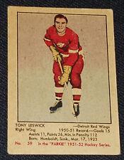 1951-1952 - PARKHURST - TONY LESWICK DETROIT RED WINGS - ROOKIE HOCKEY CARD #59