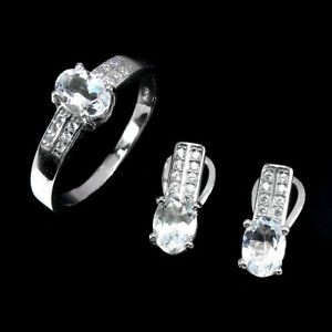 Unheated Oval Aquamarine 7x5mm Cz 14K White Gold Plate 925 Sterling Silver Sets