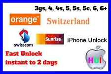 Factory Unlock iPhone For 3gs/4/4s/5/5s/5c Switzerland Orange Swisscom Sunrise