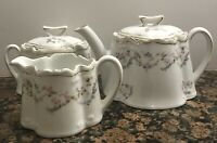 Amazing Antique Mignon Z.S. & Co. Bavaria Teapot Sugar Cream Bowl Set 1880-1918
