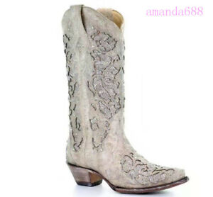 Women's Western Cowboy Mid Calf Glitter Shoes Pointed Toe Block Heels Boots Size