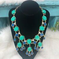 Amrita Singh Designer Statement Bib Chandelier Green Blue Crystal Gold Necklace