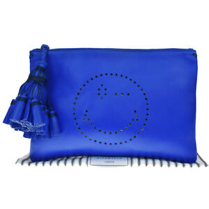 Authentic ANYA HINDMARCH Smiley Wink Fringe Clutch Hand Bag Leather Blue 36MC913